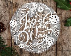 Christmas Papercut Template 'Merry & Bright' PDF by SASCreative