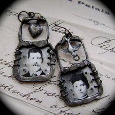 Take Flight My Heart asymmetrical earrings by AnvilArtifacts