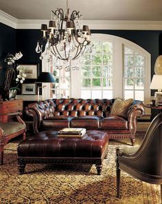 Now that's a Leather Sofa.....Hancock and Moore Furniture.  Stately Gentleman's Retreat.