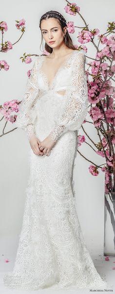marchesa notte spring 2018 bridal long bishop sleeves deep v neckline full embellishment elegant fit and flare wedding dress sweep train (10) mv -- Marchesa Notte Spring 2018 Wedding Dresses