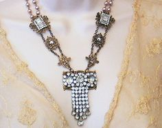 ON SALE - Calliope - Vintage assemblage necklace with antique paste brooch and vintage pearl chain - by Lorelei Designs