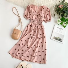 Cheap Dresses, Buy Directly from China new fashion womens dresses Vintage Love Dress V-neck Short Sleeve Casual Work Dresses, Modest Dresses, Cute Casual Outfits, Modest Outfits, Stylish Dresses, Pretty Outfits, Summer Dresses, Sexy Dresses, Cheap Dresses
