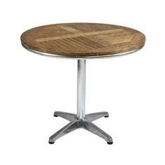 Teak and Aluminium Table - This is an extremely popular table used for dining or bistro areas at events. It is suitable for both indoor and outdoor use and can accomodate up to 4 people. The wooden slatted table combines the elegance of teak and mahogany together and with the strength of aluminium creates a sturdy table suitable for the hire industry. Stacks easily when not in use. There are matching chairs in this range to make the set complete.