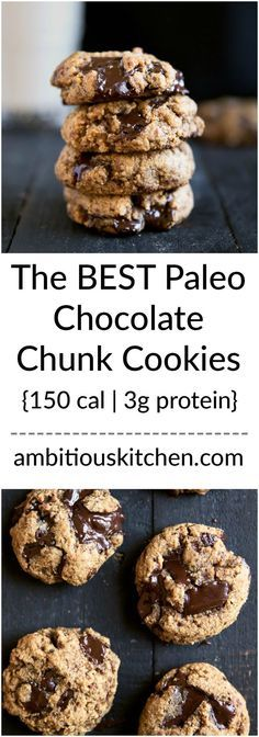 Chewy thick paleo chocolate chunk cookies made with both coconut and almond flour. These low carb cookies are a dream come true. Gluten grain and dairy free! Chewy thick paleo c Dessert Sans Gluten, Low Carb Dessert, Paleo Dessert, Dessert Recipes, Dinner Recipes, Weight Watcher Desserts, Paleo Chocolate Chip Cookies, Paleo Cookies, Coconut Cookies