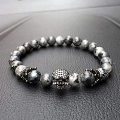 8182d2122 Mens Skull Bracelet With Natural Grey Stone Beads