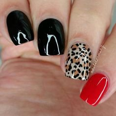 NEW HAIR IDEAS NAIL DESIGNS AND MAKE UP TUTORILS EVERYDAY: Nail Art Design Black & Red &b Leopard Pattern