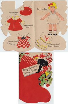 Vintage Greeting Card Paper Doll UNCUT 1930s Christmas Stocking Paramount e300