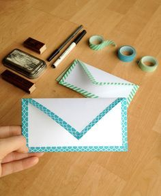 DIY Envelope - How to fold an envelope from a piece of printer paper! Use washi tape to hold the edges together.