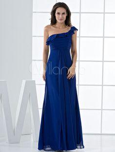 Robe de demoiselle d'honneur bleu saphir à une épaule faite en mousseline de soie