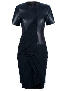 Make a style statement in this @AlexanderWangNY leather & jersey draped dress $821, get it here: http://rstyle.me/~dwCc