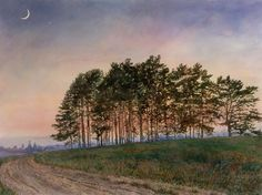 The Art of David Armstrong David Armstrong, Art Impressions, Landscape Art, Art Gallery, Country Roads, Celestial, Landscapes, Trees, Moon