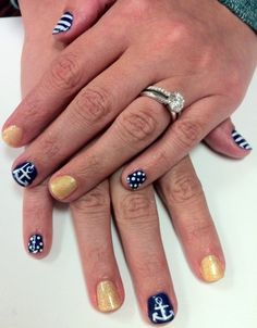 Nautical Nails!  Non Toxic Gel Manicure featuring CND Shellac and Gelish products.
