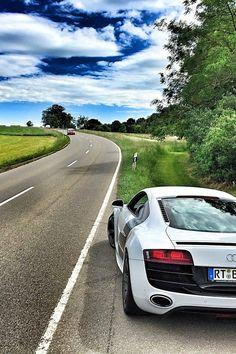 White Audi Coupe On Gray Concrete Road During Textile  C B Free Stock Photo