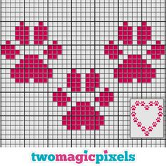 Paws Heart crochet graph Mini by TwoMagicPixels on Zibbet Tiny Cross Stitch, Cross Stitch Bookmarks, Cross Stitch Heart, Cross Stitch Cards, Cross Stitch Borders, Cross Stitch Animals, Cross Stitch Designs, Cross Stitching, Cross Stitch Embroidery