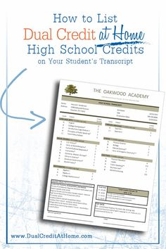 How to List Dual Credit at Home's High School Credits on Your Student's Transcript