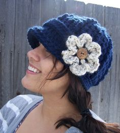 Navy Newsboy Hat with Flower