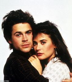 Half-hearted: Demi Moore was Lowe's co-star off-screen and on, and starred in the 1986 film About Last night. They were part of the infamous Hollywood Brat Pack of hot young actors. Lowe wasn't high on commitment back then