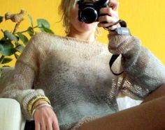 Bohemian Sweater Spring Sweater Black Mohair Sweater Loose