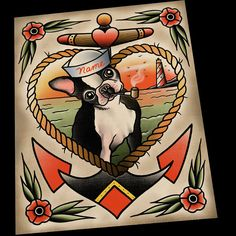 Retrato personalizado Boston Terrier por ParlorTattooPrints en Etsy