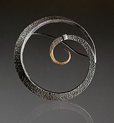 Brooch | Andy Cooperman: Textured and oxidized sterling spiral with gold at tip