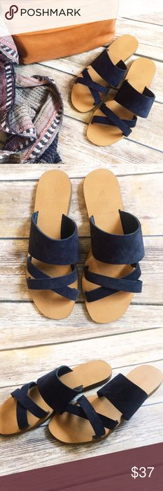 NWOT JCrew Bali Suede Slides The next best thing to being barefoot? These comfortable suede slides, made in Italy. Never worn! Navy. I usually wear an 8.5 but they don't come in half sizes so an 8 works for sizes 8 as well as 8.5!  Suede upper. Made in Italy. J. Crew Shoes Sandals