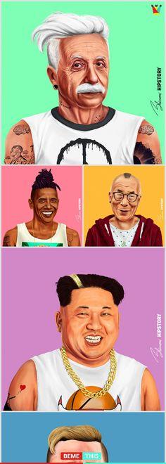 10+ Illustrations From HIPSTORY That Will Make Your Day #hipstory #obama #einstain #gandhi #bemethis #artist #amitshimoni