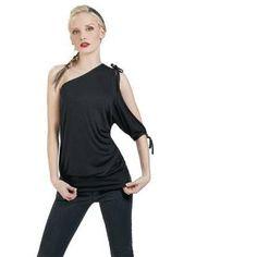 "Spiral T-Shirt, Women ""One Shoulder Top"" black • EMP"