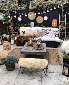 Grills, chimeneas or firepits make a great focal point for backyard entertaining. Water features with small fountains producing soothing trickling noises, evoke the sound of streams and add to the tranquil atmosphere. Bohemian Furniture, Outdoor Furniture Sets, Outdoor Decor, Outdoor Candles, Backyard Furniture, Furniture Ideas, Bohemian Patio, Bohemian Decor, Boho Chic