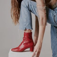Red leather ankle boots | winter fashion | winter style | winter look | outfit | streetstyle