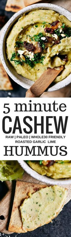 5 minute garlic lime cashew hummus is made without beans (gasp!). Made with soaked cashews, garlic, lime, parsley. Deliciously creamy, smooth, and full of flavor! Whole30 and paleo friendly. Served with paleo cassava flour pita chips! Whole30 hummus. Whol