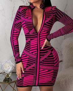 Shop Contraste listras manga comprida zíper bodycon dress right now, get great deals at Voguelily. Moda Chic, Online Dress Shopping, Womens Fashion Online, Club Dresses, Short Dresses, Ladies Dress Design, Buy Dress, Fashion Dresses, Women's Fashion