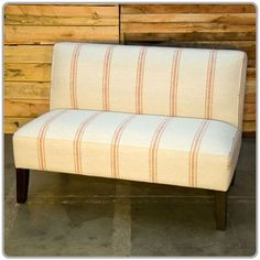 "Vintage Banquette in Ruby Stripe {The banquette is 4' wide, the seat is 20"" deep and the backrest is 16"" high.}"