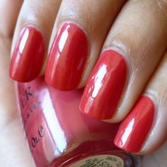 "OPI South Beach Collection, ""Paint My Moji-toes Red."" I don't usually wear colored nail polish but this is my all time favorite color!"