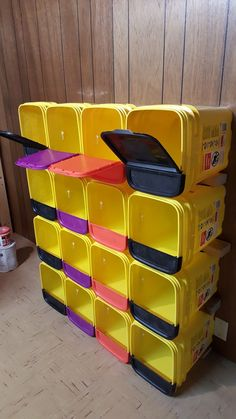 Storage Locker Made Of Tidy Cat Buckets Family Pour Le