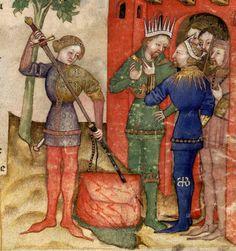 Manuscript BNF Français 343 Queste del Saint Graal / Tristan de Léonois, Folio 4r, Dating 1380-1385, Milan, Italy. Holding Institution, Bibliothèque Nationale