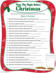 'Twas The Night Before Christmas' trivia Christmas Quiz, Christmas Trivia, Christmas Party Games, Christmas Activities, Christmas Printables, Christmas Traditions, Family Christmas, Christmas Holidays, Christmas Decorations
