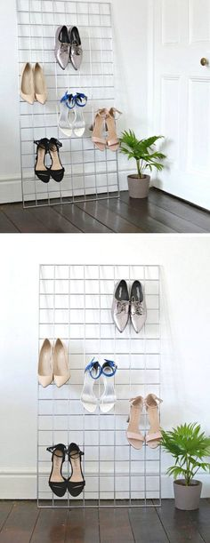 Grid Shoe Storage Display | 22 DIY Shoe Storage Ideas Dollar Stores