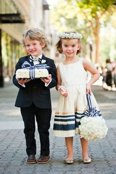 Carolynn + Tony's navy, gold, and white palette is as adorable as it is sleek on these two cuties. Photography by Carmen Salazar Photography.