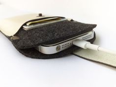 New Sleeve case wallet  with black felt and off white by TIZART, $19.00