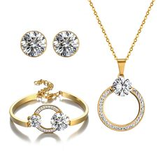 Fine Crystal Beads Jewelry Sets Summer Style Gold Colour Bridal Wedding Accessories Necklace Bracelet Stud Earrings Set