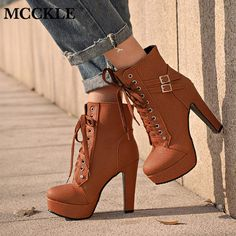 Plus Size Ankle Boots For Women Platform High Heels Female Lace Up Shoes Woman Buckle Short Boot Casual Ladies Footwear Boots For Short Women, Short Boots, Boots Women, Chunky High Heels, High Heel Boots, Women's Lace Up Shoes, Women's Shoes, Golf Shoes, Buckle Ankle Boots