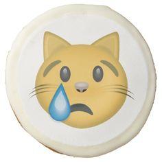Crying Cat Face Emoji Sugar Cookie