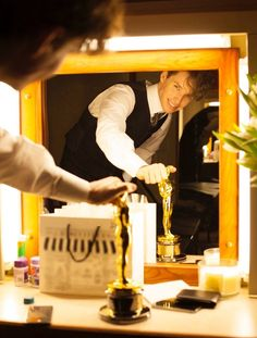 Addicted to Eddie: The Danish Girl Eddie Redmayne dressed as the young Einar Wegener in his trailer with his new Oscar - filming The Danish Girl. Eddie prepared for the role since last March. My related posts here: http://addictedtoeddie.blogspot.hu/search/label/Danish%20Girl (photo from Working Title Facebook page)