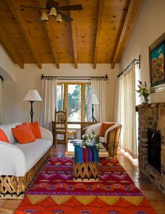 Traditional Mexican decor in a variety of suites are located throughout the property, which houses 100 guests each week. Southwest Decor, Southwest Style, Mexican Style Decor, Mexican Interior Design, Hacienda Style, Mexican Hacienda, Mexico Style, Duplex, Inspired Homes