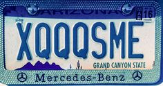 XQQSME - Two Arizona vanity license plates juxtaposed to make a sentence, quip or somewhat witty saying.