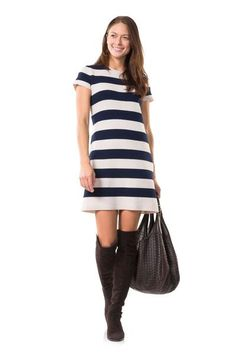 Silly in Stripes Cream/Navy Sweater Dress