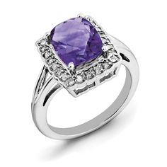 Now available on our store: Sterling Silver R... Check it out here! http://shirindiamond.net/products/sterling-silver-rhodium-plated-checker-cut-amethyst-diamond-ring-qr3314am?utm_campaign=social_autopilot&utm_source=pin&utm_medium=pin