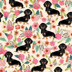 ©️️ Pet Friendly - Super cute doxie florals fabric. Best dachshund wiener dogs print girly blush for trendy decor and home textiles. Sweet doxies weiner dogs vintage florals design. Dachshund owners will love this trendy spring vintage florals pet dog fabric.