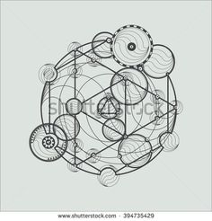 Transmutation circles. Line art.  Alchemical abstract symbol. Sacred geometry. Stock vector.