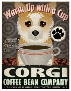 Corgi Coffee Bean Company Original Art Print by DogsIncorporated